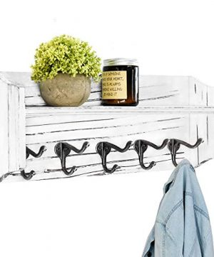 Wall Mounted Coat Rack With Shelf Rustic Wood Entryway Shelf With 5 Coat Hooks Farmhouse Coat Hooks And Upper Shelf For Storage Ideal For Your Entryway Mudroom Bathroom Living Room Rustic White 0 300x360