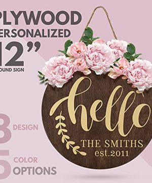 Welcome Signs For Front Door Personalized Porch Sign W Family Name 12 Round 5 Wood Colors 8 Designs Engraved Wood Sign For Outdoor Front Porch Farmhouse Front Door Decorative Hanger 0 0 300x360