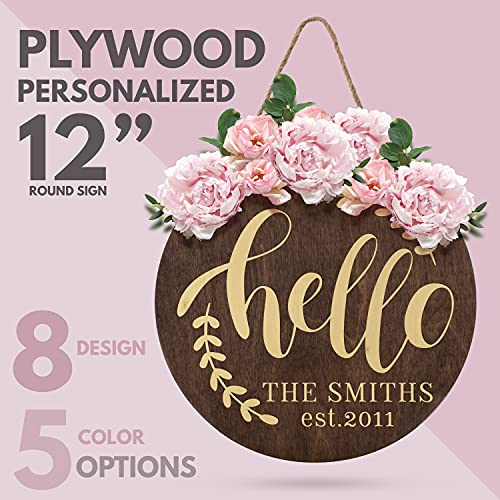 Welcome Signs For Front Door Personalized Porch Sign W Family Name 12 Round 5 Wood Colors 8 Designs Engraved Wood Sign For Outdoor Front Porch Farmhouse Front Door Decorative Hanger 0 0