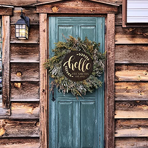 Welcome Signs For Front Door Personalized Porch Sign W Family Name 12 Round 5 Wood Colors 8 Designs Engraved Wood Sign For Outdoor Front Porch Farmhouse Front Door Decorative Hanger 0 1