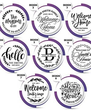 Welcome Signs For Front Door Personalized Porch Sign W Family Name 12 Round 5 Wood Colors 8 Designs Engraved Wood Sign For Outdoor Front Porch Farmhouse Front Door Decorative Hanger 0 2 300x360