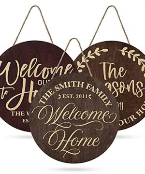 Welcome Signs For Front Door Personalized Porch Sign W Family Name 12 Round 5 Wood Colors 8 Designs Engraved Wood Sign For Outdoor Front Porch Farmhouse Front Door Decorative Hanger 0 300x360