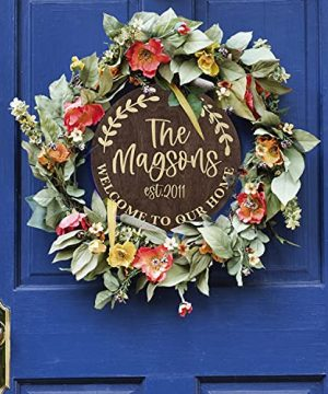 Welcome Signs For Front Door Personalized Porch Sign W Family Name 12 Round 5 Wood Colors 8 Designs Engraved Wood Sign For Outdoor Front Porch Farmhouse Front Door Decorative Hanger 0 4 300x360