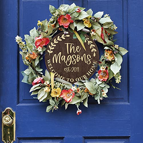 Welcome Signs For Front Door Personalized Porch Sign W Family Name 12 Round 5 Wood Colors 8 Designs Engraved Wood Sign For Outdoor Front Porch Farmhouse Front Door Decorative Hanger 0 4