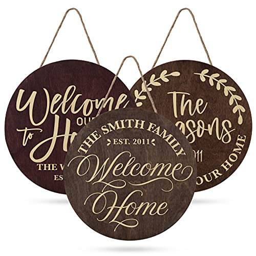 Welcome Signs For Front Door Personalized Porch Sign W Family Name 12 Round 5 Wood Colors 8 Designs Engraved Wood Sign For Outdoor Front Porch Farmhouse Front Door Decorative Hanger 0