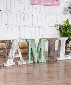 Wood Family Signs Wall Decor Decorative Wooden Blocks Rustic Letters Cutout Farmhouse Home Decor Multicolor Bedroom Kitchen Living Room Table Centerpiece Words Freestanding With Double Sided Tape 0 300x360