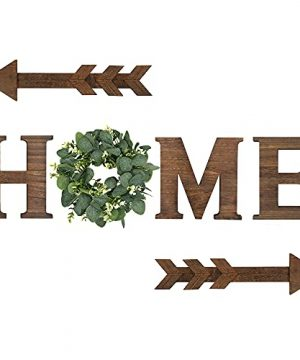 Wood Home Sign Decor Hanging Letters With Artificial Eucalyptus Wreath Rustic Farmhouse Decoration Decorative Wooden Letters Wall Art For Kitchen Living Room House 0 300x360