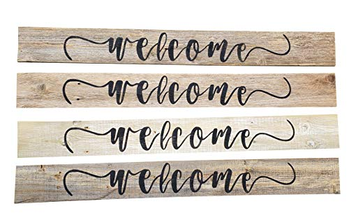 Wood Welcome Sign Made With Reclaimed Wood Perfect For Farmhouse Style Rustic Decor Fixer Upper Character Weathered Grey 48 Inch 0 0