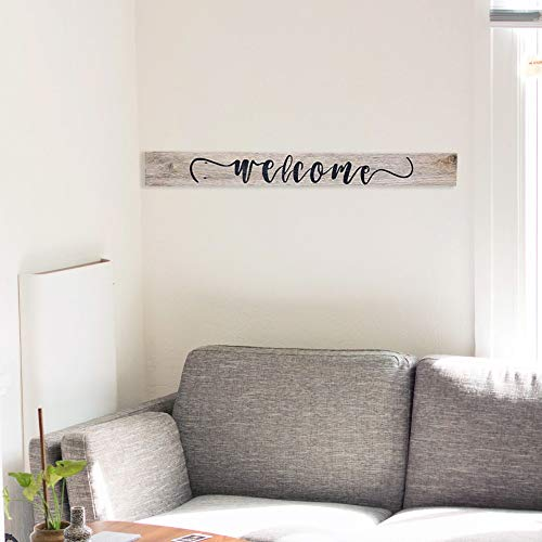 Wood Welcome Sign Made With Reclaimed Wood Perfect For Farmhouse Style Rustic Decor Fixer Upper Character Weathered Grey 48 Inch 0 2