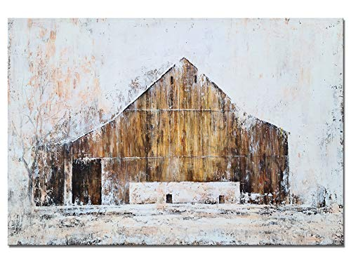 YHSKY ARTS Farmhouse Canvas Wall Art Hand Painted Barn Pictures Decor Rustic Country Artwork Modern Aesthetic Painting For Living Room Bedroom Bathroom 0 0