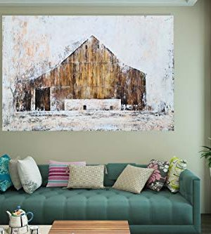 YHSKY ARTS Farmhouse Canvas Wall Art Hand Painted Barn Pictures Decor Rustic Country Artwork Modern Aesthetic Painting For Living Room Bedroom Bathroom 0 1 300x333