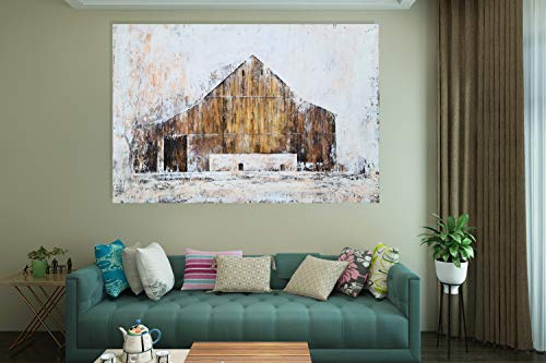 YHSKY ARTS Farmhouse Canvas Wall Art Hand Painted Barn Pictures Decor Rustic Country Artwork Modern Aesthetic Painting For Living Room Bedroom Bathroom 0 1