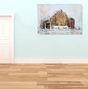 YHSKY ARTS Farmhouse Canvas Wall Art Hand Painted Barn Pictures Decor Rustic Country Artwork Modern Aesthetic Painting For Living Room Bedroom Bathroom 0 3 300x303