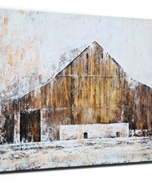 YHSKY ARTS Farmhouse Canvas Wall Art Hand Painted Barn Pictures Decor Rustic Country Artwork Modern Aesthetic Painting For Living Room Bedroom Bathroom 0 300x360