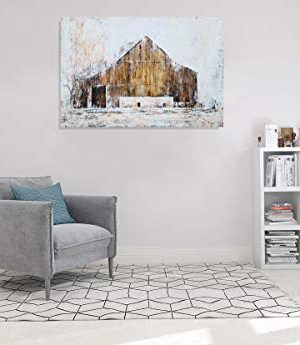 YHSKY ARTS Farmhouse Canvas Wall Art Hand Painted Barn Pictures Decor Rustic Country Artwork Modern Aesthetic Painting For Living Room Bedroom Bathroom 0 4 300x345