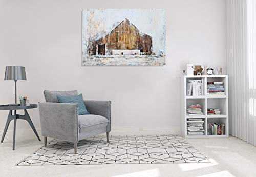YHSKY ARTS Farmhouse Canvas Wall Art Hand Painted Barn Pictures Decor Rustic Country Artwork Modern Aesthetic Painting For Living Room Bedroom Bathroom 0 4