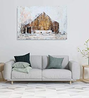 YHSKY ARTS Farmhouse Canvas Wall Art Hand Painted Barn Pictures Decor Rustic Country Artwork Modern Aesthetic Painting For Living Room Bedroom Bathroom 0 5 300x333