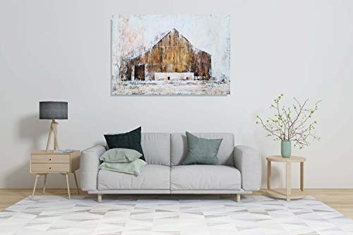 YHSKY ARTS Farmhouse Canvas Wall Art Hand Painted Barn Pictures Decor Rustic Country Artwork Modern Aesthetic Painting For Living Room Bedroom Bathroom 0 5