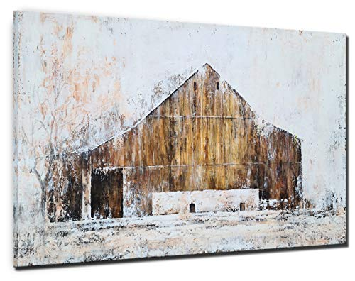 YHSKY ARTS Farmhouse Canvas Wall Art Hand Painted Barn Pictures Decor Rustic Country Artwork Modern Aesthetic Painting For Living Room Bedroom Bathroom 0