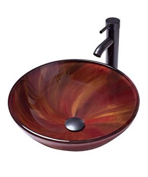 YIMAI Ingenuity Vessel Sink Bathroom Tempered Glass Brown Art Basin Round Bowl With Faucet Combo 0 300x360