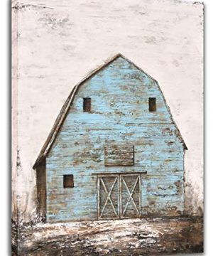Yihui Arts Modern Abstract Farmhouse Wall Art Hand Painted Teal And Blue Barn Painting Pictures For Living Room Decoration 0 300x360