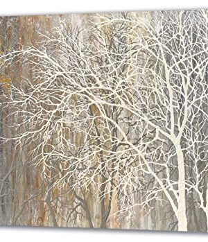 Yihui Arts White Birch Trees Painting 3D Canvas Art On Canvas Abstract Artwork Art Wood Inside Framed Hanging Wall Decoration Abstract Painting One Panel For Home Modern Decor 0 300x349