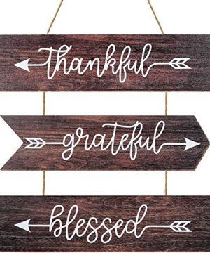 Youyole 3 Pieces Rustic Farmhouse Wooden Hanging Wall Signs Thankful Grateful Blessed Wood Sign Quotes Hanging Wall Sign For Home Wall Farmhouse Home Kitchen Decor 15 X 4 Inches 0 300x360