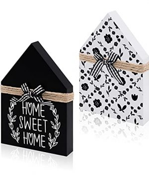Zingoetrie Home Sweet Home House Shaped Wood Signs Wood Block House Mini Wooden House Home Decor Farmhouse Tiered Tray Signs Sayings Gift Ideas For Birthday Housewarming Christmas 0 300x360