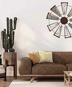 Glitzhome 22 Farmhouse Galvanized Windmill Wall Sculpture Home Decor Rustic Metal Rustic Wall Art Decoration Silver 0 1 300x360