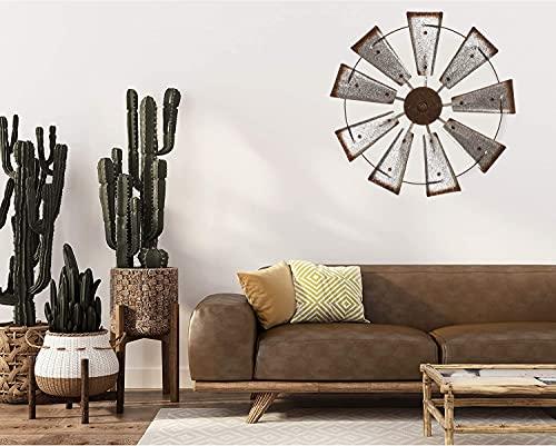 Glitzhome 22 Farmhouse Galvanized Windmill Wall Sculpture Home Decor Rustic Metal Rustic Wall Art Decoration Silver 0 1