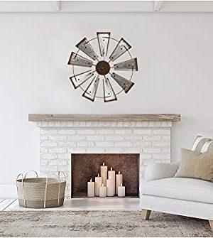 Glitzhome 22 Farmhouse Galvanized Windmill Wall Sculpture Home Decor Rustic Metal Rustic Wall Art Decoration Silver 0 3 300x335