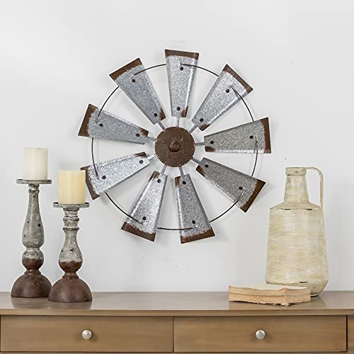 Glitzhome 22 Farmhouse Galvanized Windmill Wall Sculpture Home Decor Rustic Metal Rustic Wall Art Decoration Silver 0 4