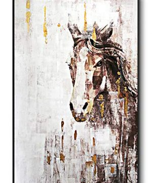 Lampig Horse Wall Art Stallion Pictures Wall Decor Hand Painted Oil Paintings Large Brown Gold Animal Canvas Prints Vertical Farmhouse Artwork For Living Dining Room Bedroom Hallway Walls 32x48 0 300x360