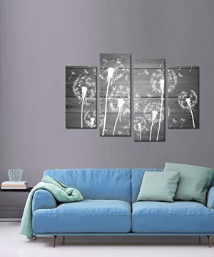 Sechars 4 Piece Flower Wall Art White And Gray Dandelion Picture Canvas Painting Framed Ready To Hang Modern Floral Canvas Artwork For Farmhouse Living Room Wall Decorations 0 1 300x360