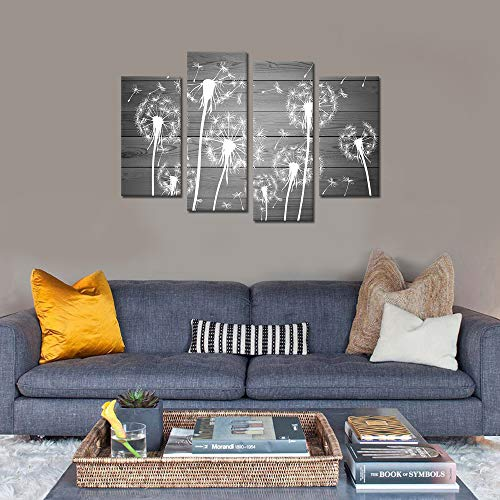 Sechars 4 Piece Flower Wall Art White And Gray Dandelion Picture Canvas Painting Framed Ready To Hang Modern Floral Canvas Artwork For Farmhouse Living Room Wall Decorations 0 3