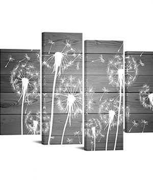 Sechars 4 Piece Flower Wall Art White And Gray Dandelion Picture Canvas Painting Framed Ready To Hang Modern Floral Canvas Artwork For Farmhouse Living Room Wall Decorations 0 300x360
