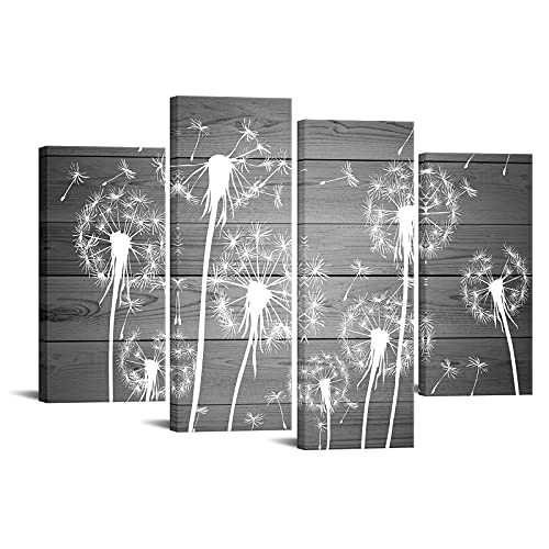 Sechars 4 Piece Flower Wall Art White And Gray Dandelion Picture Canvas Painting Framed Ready To Hang Modern Floral Canvas Artwork For Farmhouse Living Room Wall Decorations 0