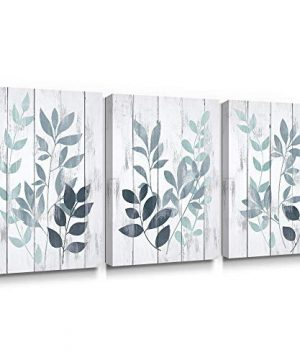 Takfot Blue Wall Art Rustic Canvas Paintings Vintage Leaf Art Prints Botanical Pictures Farmhouse Leaves Artwork Home Decor Stretched And Wrapped For Bathroom Living Room 12x16 Inch 3 Panels 0 300x360