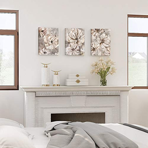 Takfot Rustic Wall Art Flower Canvas Paintings Farmhouse Prints Floral Artwork Gardenia Picture Vintage Home Decor Ready To Hang For Living Room Bedroom Bathroom 1216 Inch 3 Panels 0 0