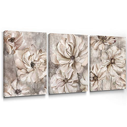 Takfot Rustic Wall Art Flower Canvas Paintings Farmhouse Prints Floral Artwork Gardenia Picture Vintage Home Decor Ready To Hang For Living Room Bedroom Bathroom 1216 Inch 3 Panels 0