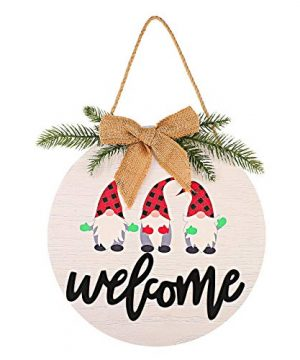 1 Piece Welcome Sign Front Door Decorations Round Wood Christmas Hanging Sign Christmas Rustic Burlap Wooden Holiday Decor With Decorative Bow And Branch For Christmas Holiday Front Door Wall Porch 0 300x360
