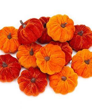 12 Pcs Artificial Pumpkins Orange Velvet Pumpkins Fall Decorations Holiday Farmhouse Decorations Thanksgiving Decorations For Home And Tablelop 0 300x360