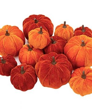 12 Pcs Artificial Pumpkins Velvet Pumpkins With Assorted Sizes Fall Harvest Halloween Decorations Holiday Table Decor Farmhouse Decorations For Home 0 300x360