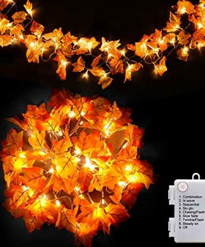 147ft 40 LED Thanksgiving Decorations For Home Autumn Garland Fall Decor Thanksgiving Decor Fall Garland With Lights 8 Blinking Modes Waterproof Halloween Friendsgiving Decorations Room Indoor 0 300x360