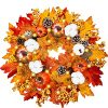 18 Inch Fall Wreaths With LED Lights Pumpkins Pinecone Berry Artificial Maples Leaves Wreath Front Door Autumns Harvest Wreath Fall Thanksgivings Halloween Decoration Indoor Outdoor Decor 0 100x100