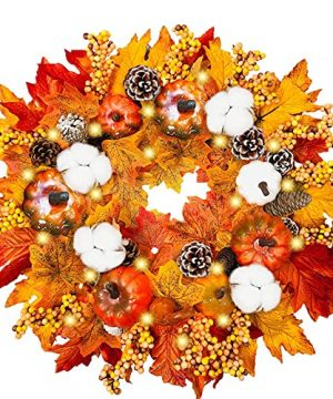 18 Inch Fall Wreaths With LED Lights Pumpkins Pinecone Berry Artificial Maples Leaves Wreath Front Door Autumns Harvest Wreath Fall Thanksgivings Halloween Decoration Indoor Outdoor Decor 0 300x360