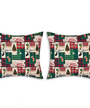2 Pack Merry Christmas Pillow Covers Holiday Plaid Farmhouse Throw Pillow Covers 18x18 Inch Christmas Tree Stocking Pillow Cases Double Sided Home Decor Cushion Covers For Sofa Couch Chair 0 300x360