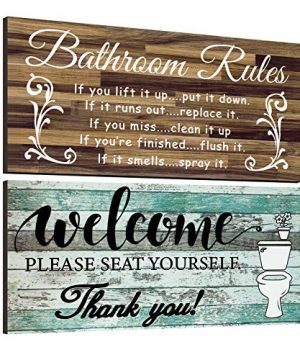2 Pieces Funny Bathroom Wall Decor Sign Vintage Bathroom Wood Wall Signs Bathroom Welcome Please Seat Yourself Wooden Sign Rustic Bathroom Rules Wooden Plaque Farmhouse Bath Wall Art Sign 12 X 6 Inch 0 300x360