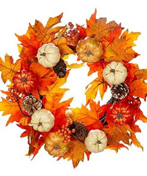 20 Autumn Wreath Fall Wreath Artificial Thanksgiving Decorations Halloween Front Door Wreath Harvest Farmhouse Wreath With Maple Leaf Pumpkins Pinecones Berries 0 300x360