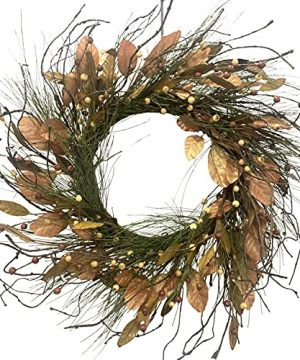 24 Fall Berry Wreath For Front Door Decoration OWRETHE Autumns Harvest Wreath With PineconePine NeedleMagnolia Leaves For Farmhouses Home Wall Thanksgivings Halloween Indoor Outdoor Decor 0 300x360
